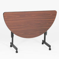 Melamine Flip Top Half Round Adjustable Height Table, A11133