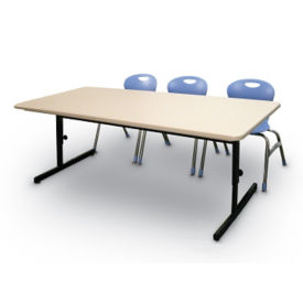 "Adjustable Height Blow Molded Computer Table 72"" x 30"", E10156"