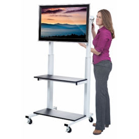 Height Adjustable Mobile Monitor Cart with Hand Crank, M16346