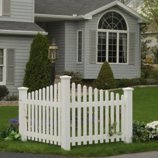 Synthetic Wood Corner Picket Fence, F10015