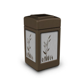 Waste Receptacle with Cattail Design - 42 Gallon, R20314