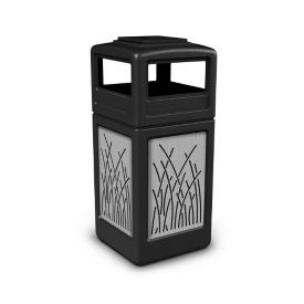 Ashtray Dome Lid Waste Receptacle with Reed Design - 42 Gallon, R20319