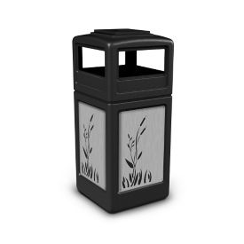 Ashtray Dome Lid Waste Receptacle with Cattail Design - 42 Gallon, R20322