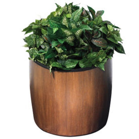 "Faux Wood Planter - 21"" Diameter, V21987"