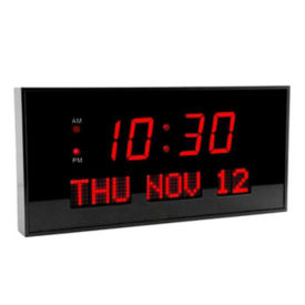 Digital Red Numeral LED Clock with Calendar Display, V21725