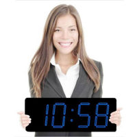 "Laser LED Clock with 5"" Blue Numerals, V21728"