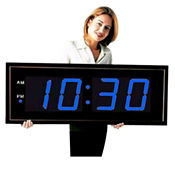 "Digital LED Clock with 8"" Blue Numerals, V21730"