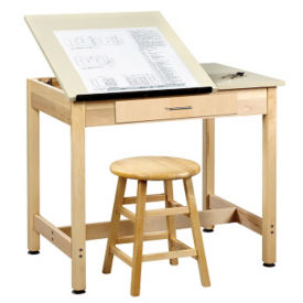 "30""H Dual Surface Drafting Table with Large Drawer, A11169"