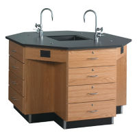 "Octagtonal Workstation with Drawer Base - 62""W, L70037"