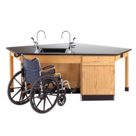 ADA Workstation with Drawer and Cabinet, L70046