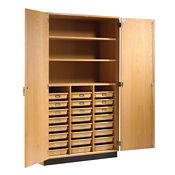Science Classroom Storage Cabinet with 24 Trays, L70054