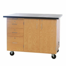 Mobile Lab Demonstration Table with Flat Top and Drawers, L70076