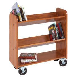 Three Shelf Mobile Book Cart - Angled Shelves, L70088