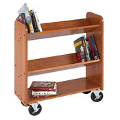 Three Shelf Mobile Book Cart - Angled Shelves, L70088