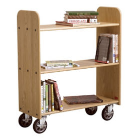 Three Shelf Mobile Book Cart - Flat Shelves, L70089