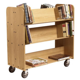 Large Three Shelf Mobile Book Cart - Angled Shelves, L70091