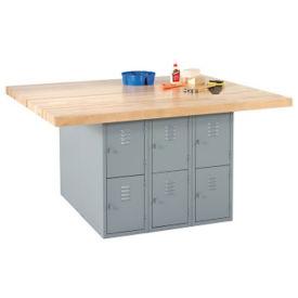 "Workbench with Twelve Gray Steel Lockers - 54"" x 64"", T11794"