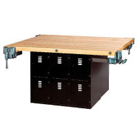 "Workbench with Twelve Gray Steel Lockers and Four Vices - 54"" x 64"", T11796"