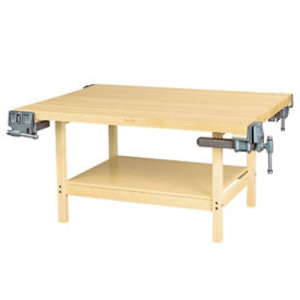 """Four Person Maple Workbench with Four Vices - 54"""" x 64"""", T11793"""