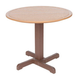"Recycled Plastic Two Tone Outdoor Round Dining Table - 35""Dia, F10306"