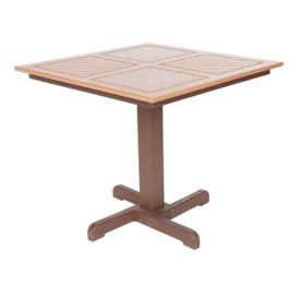 """Recycled Plastic Two Tone Outdoor Square Dining Table - 35""""W x 35""""D, F10308"""