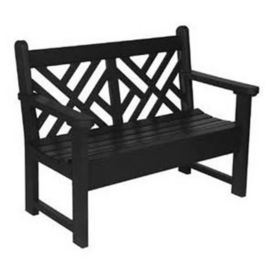 """Outdoor Bench with Patterned Back - 60""""W, F10348"""