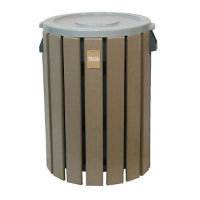 Recycled Plastic Outdoor Trash Bin - 32 Gallon, R20269