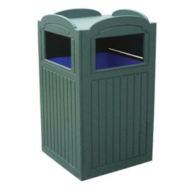 Recycled Plastic Outdoor Trash Bin with Tray Holder - 42 Gallon, R20272