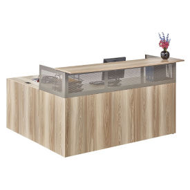 "At Work Right Return Reception L-Desk with Pedestal - 72""W in Warm Ash, D33054"
