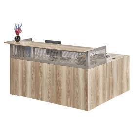 "At Work Left Return Reception L-Desk with Pedestal - 72""W in Warm Ash, D33055"