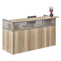 At Work Reception Desk with Pedestal in Warm Ash, D33057