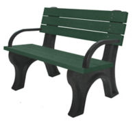 Recycled Plastic Outdoor Flat Bench with Arms - 4 Ft, F10569