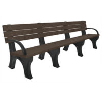 Recycled Plastic Outdoor Flat Bench with Arms - 8 Ft, F10571