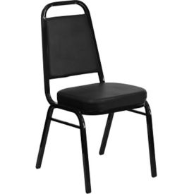 Black Vinyl Banquet Chair with Black Frame, C67851