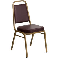 Brown Vinyl Banquet Chair with Gold Frame, C67853