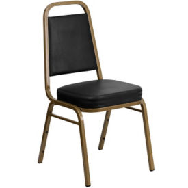 Black Vinyl Banquet Chair with Gold Frame, C67854