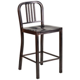 "Antique Metal Bar Stool - 36""H, K10075"