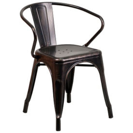 Antique Metal Chair with Arms, K10081