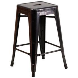 """Backless Antique Metal Barstool - 24""""H, K10083"""