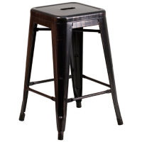 "Backless Antique Metal Barstool - 24""H, K10083"
