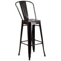 "Antique Metal Bar Stool - 30""H, K10089"