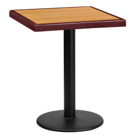 "24"" Square Standard Height Table with Round Base, T11836"