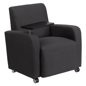 Fabric Club Chair with Tablet and Casters, W60030