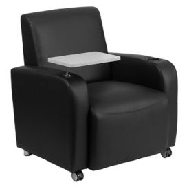 Faux Leather Club Chair with Tablet and Casters, W60032
