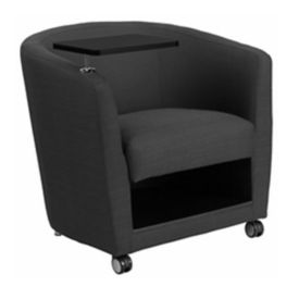 Fabric Tablet Arm Chair with Lower Storage and Casters, W60041