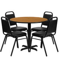 "36""DIA Table and Four Banquet Stack Chairs, T11799"