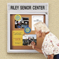 "30"" x 36"" Outdoor Bulletin Board with Illuminated Header, B20771"