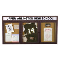 "72""W x 36""H Outdoor Bulletin Board with Header, B20781"