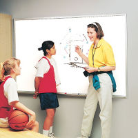 Melamine White Board with Aluminum Frame 12w'x4'h, B20855