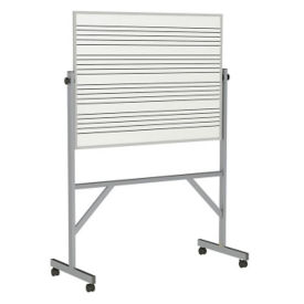 Reversible Whiteboard with Music Staff Lines and Blade Tray - 3' x 4', B23281